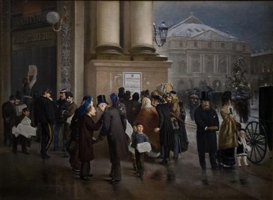 Emilio Magistretti, le 9 janvier 1878, l'annonce de la mort de Victor-Emmanuel II, 1879. (Fondation collection Cariplo, Milan)