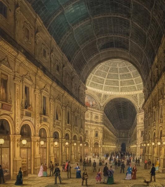 Carlo Canella, La nouvelle Galerie Victor-Emmanuel à Paris, avec la promenade nocturne, 1879 (Collezione Intesa San Paola, Gallerie d'Italia, Milan).