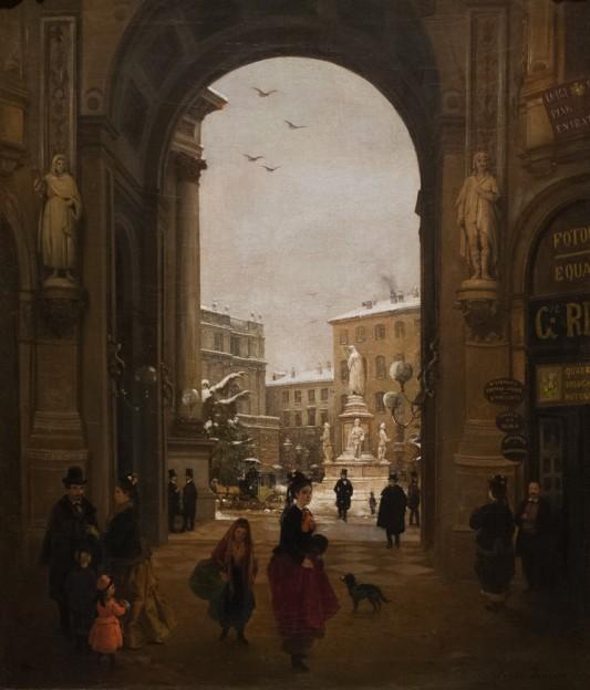 Angelo Inganni, Vue de la Place de la Scala sous la neige qui tombe depuis la Galerie Victor-Emmanuel, 1874 (Collezione Intesa San Paolo,Gallerie d'Italia, Milan)