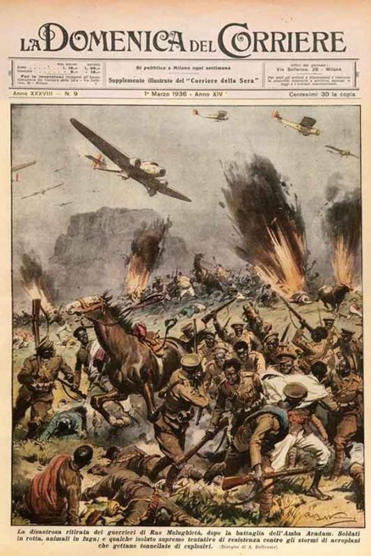Bataille d'Amba Aradam, menée par les troupes d'Emilio Del Bono parties d'Erythrée. Les gaz furent employés durant la préparation d'artillerie, puis par l'aviation dans la poursuite de l'ennemi en déroute.