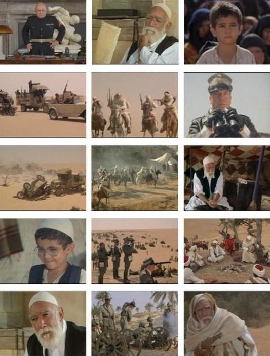 Photogrammes du film Le Lion du désert (1981) avec Anthony Quinn dans le rôle d'Omar Al-Mokhtar et Oliver Reed dans celui de Rodolfo Graziani.