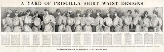 """16 modèles de Shirtwaist blouse présentés en 1906 dans le magazine """"The modern Priscilla""""."""