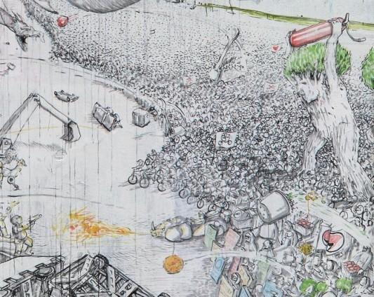 La peinture murale de Blu au XM24 de Bologne (détail).