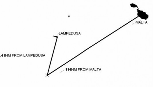 La position du cargo Pinar au moment de la prise en charge des 140 naufragés. Malgré l'évidente proximité de l'île de Lampedusa, l'Italie a joué le bras de fer avec Malte du 16 au 20 avril 2009. Une des personnes secourues es