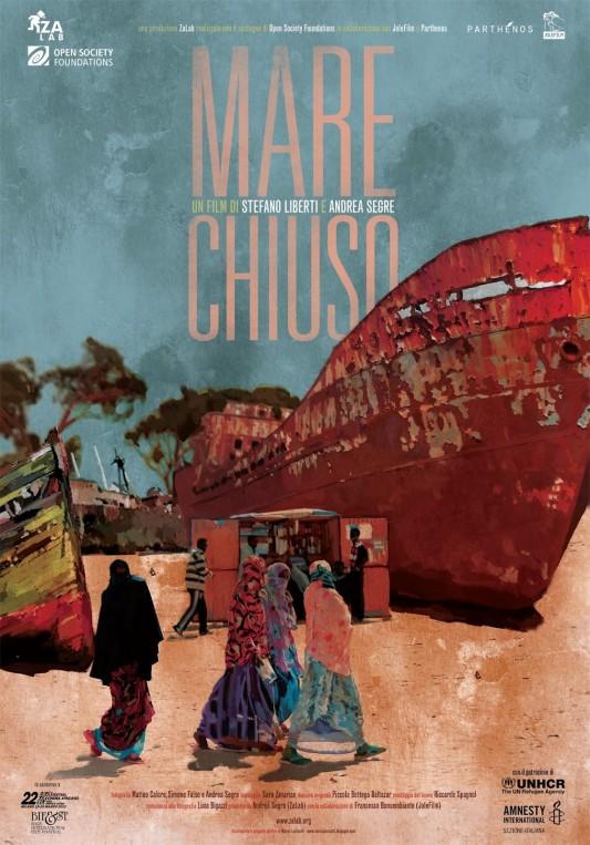 Mare chiuso (Italia -2012), un film di Andrea Segre e Stefano Liberti. (Italia  - 2013). Manifesto di Marco Lovisatti.