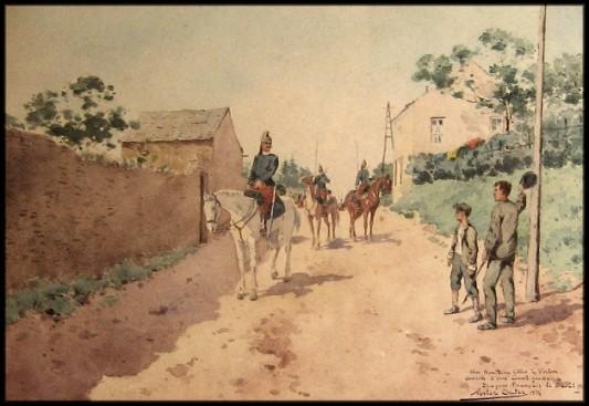 La cavalerie française en avant-garde le 6 août 1914. Aquarelle de Nestor Outer