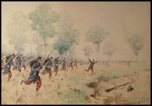 L'infanterie française à l'assaut le 22 août 1914. Aquarelle de Nestor Outer.