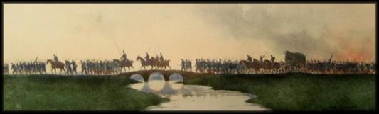 """Le repli de l'armée française. Aquarelle de Nestor Outer. La ressemblance avec """"Cavalerie rouge"""" de Kasimir Malevitch (1928 -1932) est particulièrement frappante."""
