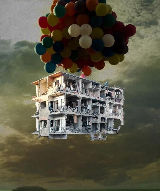 """Bon voyage par Tammam Azzam. L'œuvre a servi d'affiche à l'exposition """"Et pourtant ils créent (Syrie, la foi dans l'art)""""  présentée au centre des cultures d'Islam à Paris d'avril à juillet 2014."""