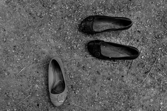 Parmi les migrants du jardin d'Eole, des femmes, des enfants. Juin 2015. Photo: Olivier Favier.