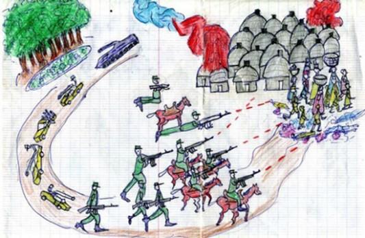 Parmi les images qui apparaissaient sur l'ordinateur, il y avait ce dessin d'enfant qui montrait l'attaque d'un village du Darfour. C'est un très bon dessin, m'a dit Adam.