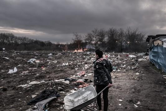 Calais, zone sud du bidonville, après les destructions, 10 mars 2016. Photo: Olivier Favier.